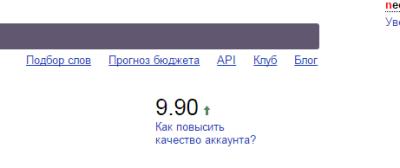 Рост качества аккаунта в Yandex Direct